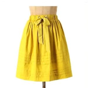NWT Odille Anthropologie A-Line Skirt Yellow XS